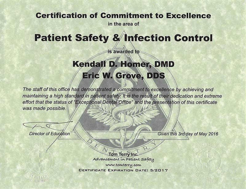 Tom Terry Award for Patient Safety | Grove & Homer, Dentists